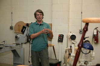 Photo: Alan Leland is both a woodworker and a woodturner, located in Durham, NC. His is active as a teacher in his shop and at the Campbell Folk School.  Alan specializes in creating beautifully turned stools made of contrasting woods.