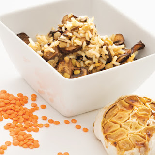 Rice with Roasted Garlic, Lentils, and Mushrooms Recipe