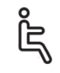 line drawing of person sitting on a toilet