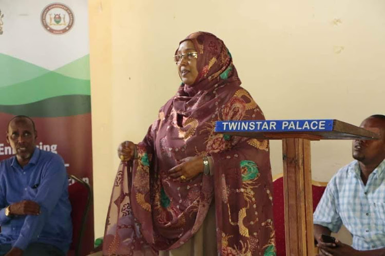Ijara MP Sophia Abdi in Masalani town on Wednesday when she officiated the opening of a workshop on enhancing community/ security cooperation on countering violent extremism