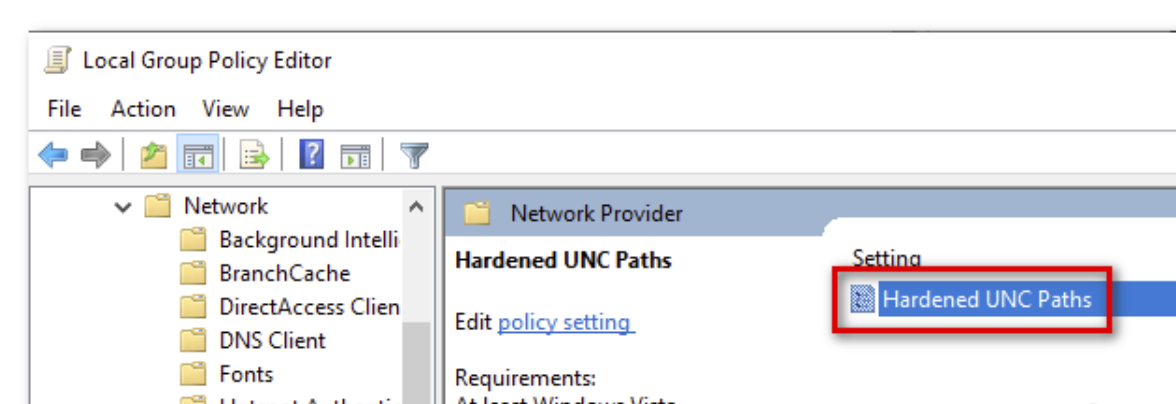 Hardened UNC Paths policy setting