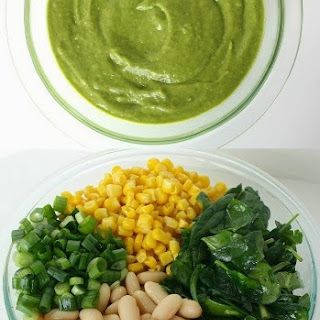 White Bean Spinach Enchiladas with Avocado Cilantro Sauce