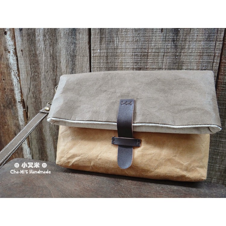 Hand Clutch Paper Bag (dark brown x light brown) by Cha-mi's Handmade
