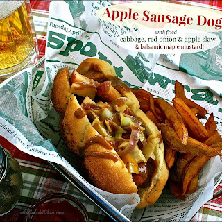 Apple Sausage Dogs with Cabbage, Red Onion & Apple Slaw Topped with Balsamic Maple Mustard Sauce
