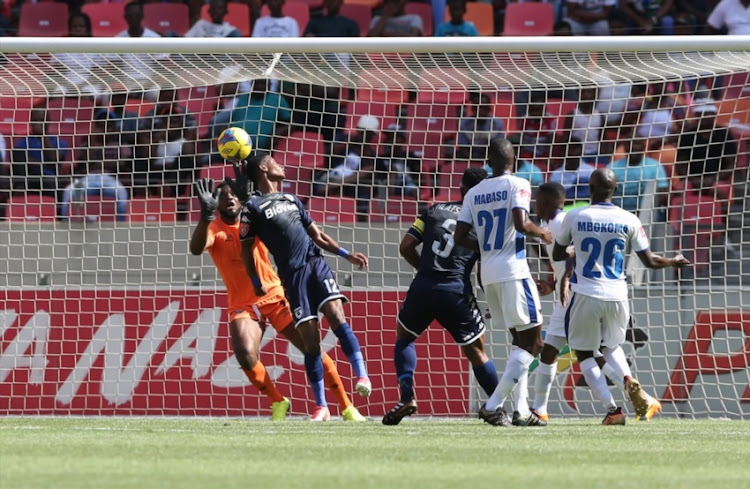 Vincent Pule of Bidvest Wits headers in the opening goal during the Absa Premiership match between Chippa United and Bidvest Wits at Nelson Mandela Bay Stadium on January 14, 2018 in Port Elizabeth.