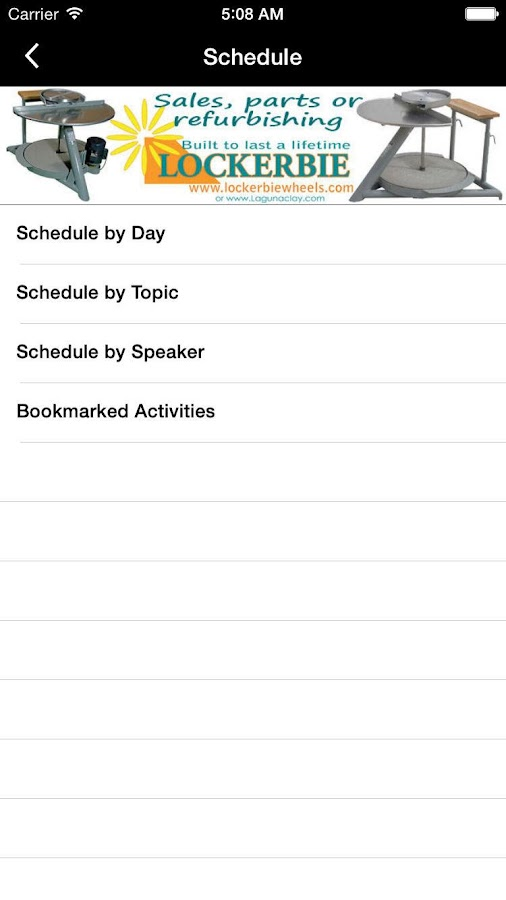 NCECA Events App- screenshot