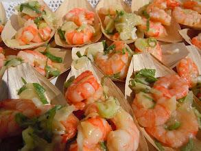 Photo: grosses crevettes au gingembre