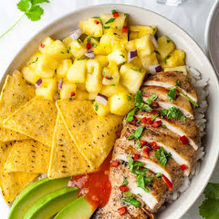 Caribbean Chicken with Pineapple Salsa.