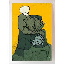 Photo: Sur fond jaune, sérigraphie originale sur verre, 60 x 84 cm, 2011 tirage en 14 exemplaires numérotés et signés. © Nadja Cohen