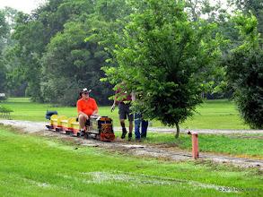 Photo: Bill Smith stops while Dennis Profota and Bob Barnett trim the tree with limbs near the track.     HALS Public Run Day 2015-0516 RPW