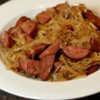 Sauerkraut, Sausage And Dumplings.
