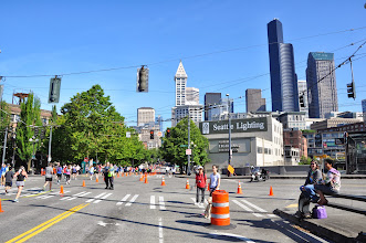 Photo: As you can see, it was great weather for Seattle's Rock and Roll Marathon. Too bad we had to be indoors for our haiku meeting all day! That's Tanya McDonald and Michelle Schaefer on the right.