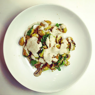 Gnocchi with Mushrooms & Walnut Pesto