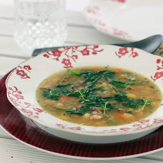 Chickpea Hominy Soup with Herbs.