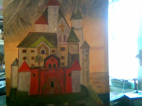 "Photo: ""The Schloss"" means Castle in German; not completed yet; oils on deep edge canvas; 48 X 60 inches; painting this at my residence at Denver CO 80203;"