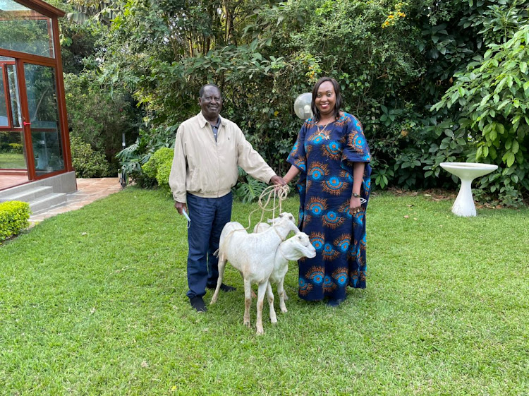ODM Party leader Raila Odinga and Nairobi Deputy Governor Ann Kananu at his home in Karen on April 16