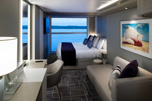 A Panoramic Oceanview stateroom on Celebrity Apex comes in at 212 square feet and can hold up to four people.