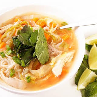 Spicy Chicken Noodle Soup With Lime and Ginger.