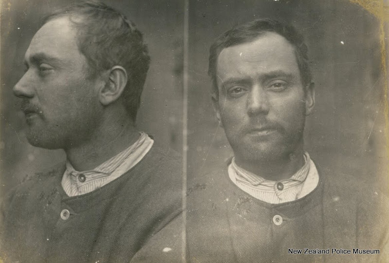 Photo: Rudolph Allen (b. 1881, New Zealand). Charged with cruelty to a horse and sentenced to 1 month in gaol on 31 May 1907 (Auckland). Previous convictions for breach of byelaws, theft and false pretences. Photograph taken on 28 June 1907.