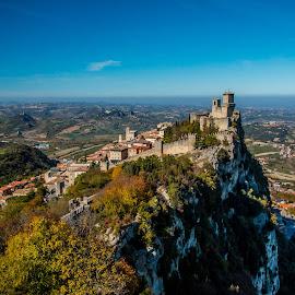 by Mario Horvat - City,  Street & Park  Vistas ( tower, sky, italia, san marino, rock, castle, italy, panorama )