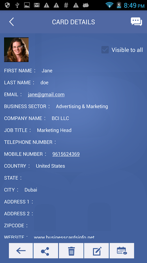 Business Cards Info (BCi)- screenshot