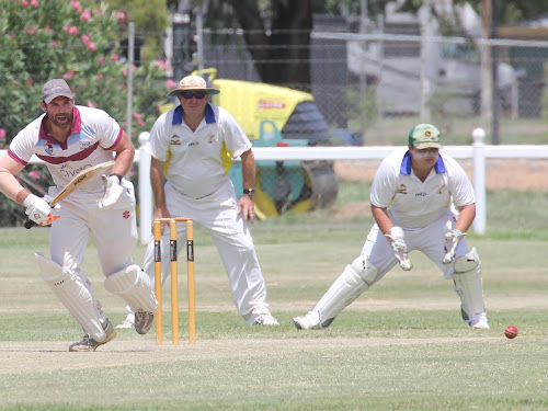 Civeo batsman Lachlan Cameron flicks one to the on side and takes off for a quick single. Watching on are RSL's Jason Trindall (slip) and Tyson Gilmore (wicketkeeper).