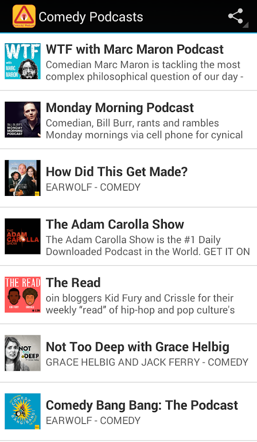 Comedy Podcasts- screenshot