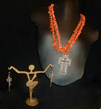 Photo: <BEREHYNYA> {Great Goddess Protectress} unique one-of-a-kind statement jewellery by Luba Bilash ART & ADORNMENT  # 70 - TRINITY - ТРІЙЦЯ - copper, brass, antique silver cross; coral; rose gold vermeil chains & findings SOLD/ПРОДАНИЙ