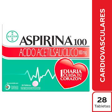 Aspirina 100mg Tableta   Caja x28Tab. BAYER Ácido Acetilsalicílico