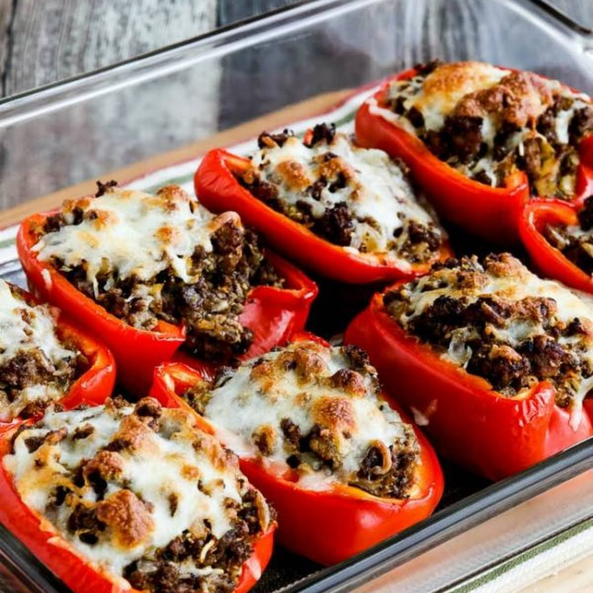Low Carb Stuffed Peppers With Beef Sausage And Cabbage