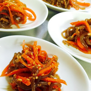 <Side Dish> Sweet and Spicy Kinpira with Carrot and Shirataki Noodles