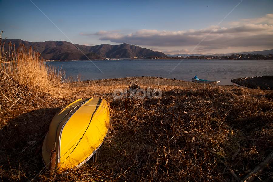Saiko Lake by Nyoman Sundra - Landscapes Waterscapes ( field, mountain, japan, lake, saiko )