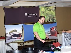 Photo: Marc Chiasson of Genivar setting up his booth
