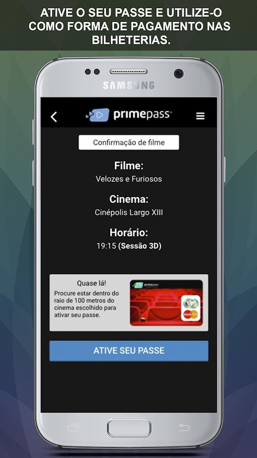 PrimePass Cinema: captura de tela