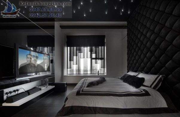 thiết kế phòng ngủ màu đen bóng