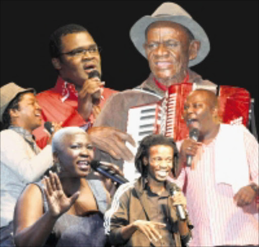 BEST MEDICINE: These are some of the comedians who left the large audience with tears of laughter rolling down their cheeks during the comedy show at the ICC Arena in Durban on Saturday night. Pic. THULI DLAMINI. 05/31/2009.  © Sowetan.