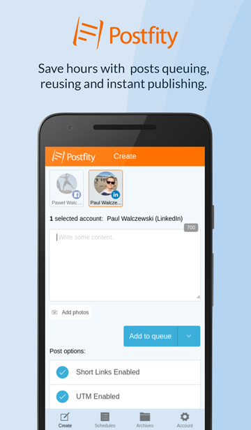 Postfity: Social Media Tool- screenshot