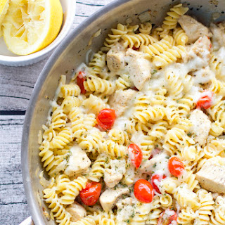 One Pan Spicy Lemon Chicken Pasta with Tomatoes.