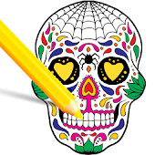 Scary Halloween Coloring Pages - Sugar Skulls