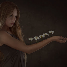 The Flower that Blooms in YOU! by Patricia Wouterse - Digital Art People ( child, girl, fineart, dark, daisy, manipulation, flower )