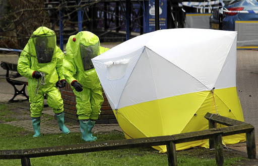 A forensic tent covers the bench where Sergei Skripal and his daughter Yulia were found. File photo: REUTERS
