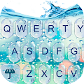 3D Blue Glass Water Keyboard Theme download