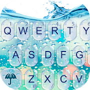 3D Blue Glass Water Keyboard Theme