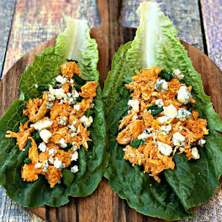 Instant Pot Keto Low-Carb Cheesy Buffalo Chicken Lettuce Wraps.
