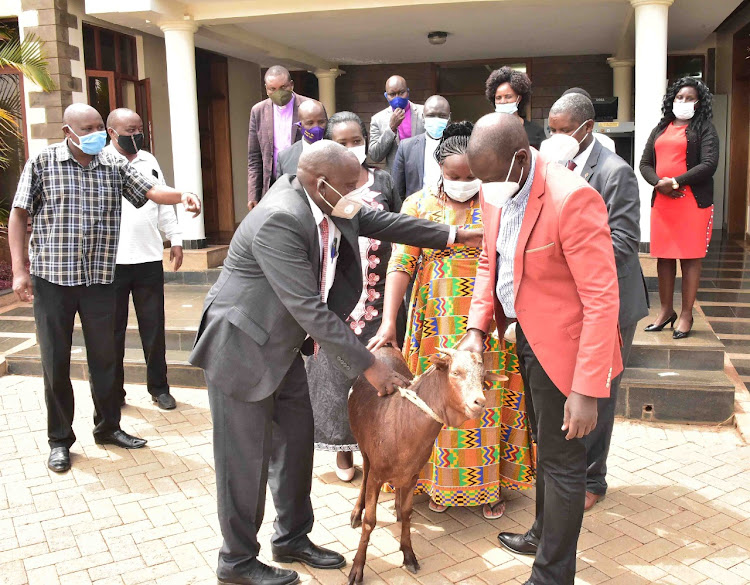Deputy President William Ruto when he hosted a delegation of bishops from Narok County led by Presiding Bishop of Covenant Church International Simeone Simpai and Narok MP Soipan Tuya in Karen, Nairobi County on August 31, 2020.
