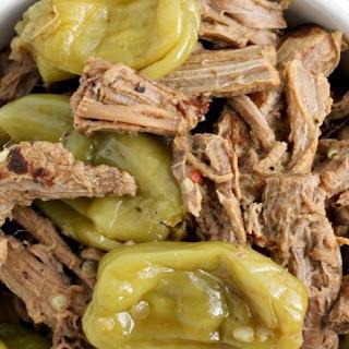 Slow Cooker Italian Pepperoncini Shredded Beef.