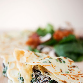 Green Onion Parmesan Crepes with Ricotta, Spinach, Bacon & Mushroom Filling.