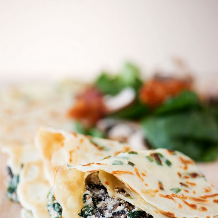 Green Onion Parmesan Crepes with Ricotta, Spinach, Bacon & Mushroom Filling Recipe