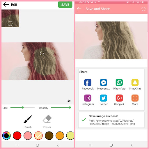 Hair color changer - Try different hair colors 1.5 screenshots 2