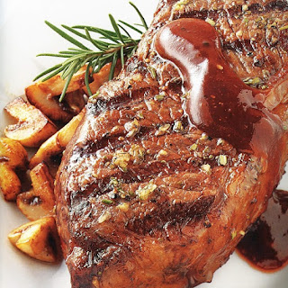 Oven Baked Rump Steak with Rosemary Sauce.